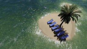 椅子在海滩的一把伞下由晴天和棕榈树 免版税图库摄影