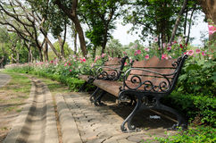 椅子在规则式园林里有花背景 免版税库存图片