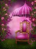 椅子桃红色伞 库存图片