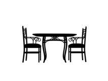椅子概述剪影表 免版税库存照片