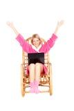 椅子现有量晃动坐直妇女 库存图片