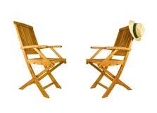 椅子甲板折叠的柚木树二木头 免版税库存照片