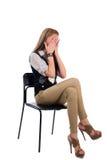 椅子的女孩 库存照片