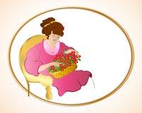 椅子的妇女与花。传染媒介 库存例证