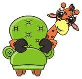 从椅子的长颈鹿偷看 免版税库存图片