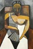 椅子立体派绘画妇女 库存图片