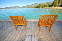椅子表面湖对woodin 免版税库存图片