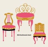 椅子被塑造的老集向量 库存照片