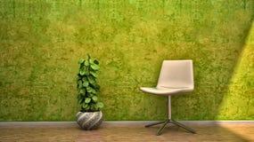 椅子设计开花房子内部场面 免版税库存图片