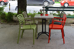 椅子绿色红色 免版税库存图片