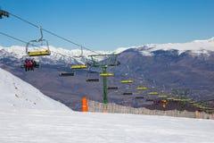 椅子滑雪吊车在拉莫利纳,西班牙 免版税图库摄影