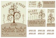 植树节套手拉的海报、卡片、飞行物和横幅 图库摄影