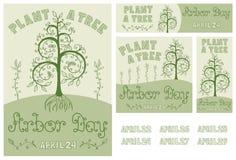 植树节套手拉的海报、卡片、飞行物和横幅 免版税库存照片