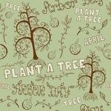 植树节手拉的无缝的花卉样式 免版税库存照片