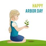 植树节 女孩种植一棵树 传染媒介例证一个假日 树艺学,森林,农业的标志 免版税库存图片