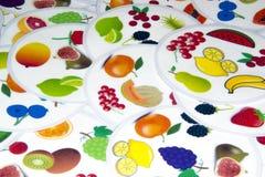 植物和在白色背景设置的果子生物 免版税库存照片
