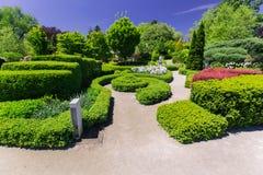植物园风景华美的邀请的看法在与走在背景中的人的晴朗的春日 免版税库存图片