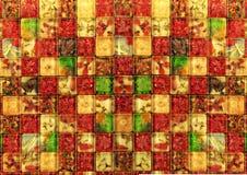 植物在马赛克样式的片断纹理铺磁砖背景 库存照片