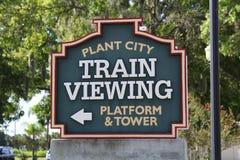 植物城市火车站标志 免版税图库摄影