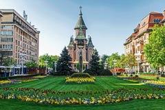 植物布置在胜利广场,有正统大教堂的我 免版税库存图片