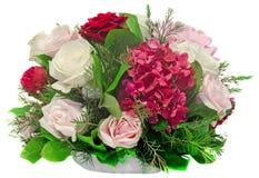 植物布置,花束,与白色、桃红色、黄色玫瑰和紫色霍滕西亚 免版税库存图片