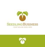 植物托儿所的商标设计,有机耕田,素食主义者 免版税图库摄影