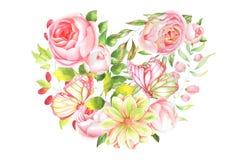 植物的例证,玫瑰的心脏 库存照片
