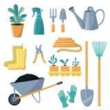 植物的园艺工具传染媒介园艺设备犁耙铁锹喷壶罐的花匠农厂汇集或种田 库存例证