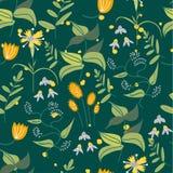 植物的花卉无缝的样式 传染媒介花印刷品 库存照片