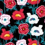 植物美好的黑暗的白色和红色开花的花卉的样式 库存例证