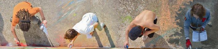 植物街道艺术家:专长街道画,配合 免版税图库摄影