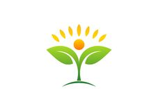 植物,人们,自然,商标、健康、太阳、叶子、植物学、生态、标志和象 皇族释放例证