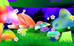 植被发光的仙境背景  图库摄影