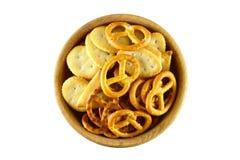 椒盐脆饼和薄脆饼干 免版税图库摄影
