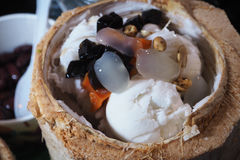 椰子冰淇凌 免版税库存照片