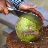 椰子准备:切开 免版税图库摄影