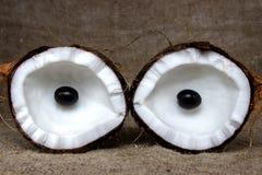 椰子切开了成在粗麻布的片断 免版税库存照片