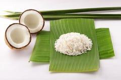 椰子叶子和切细的椰子 免版税库存图片