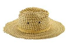 椰子叶子在白色背景的织法帽子 免版税图库摄影