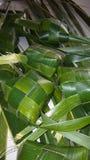 椰子叶子当食物包装纸 免版税图库摄影