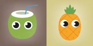 椰子和菠萝 免版税库存图片