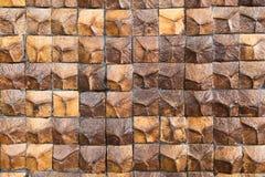 椰子壳纹理木装饰墙壁 库存图片