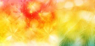 椰子树和抽象蝴蝶被弄脏的背景在wat 免版税库存图片