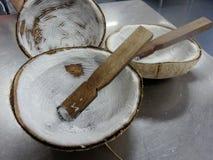 椰子磨丝器手扶切菜机的刮板 库存照片