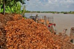 椰子糖果工厂 槟知 湄公河三角洲区域 越南 库存照片