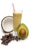 椰子,与牛奶chokolat的菠萝汁 库存照片