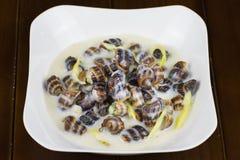 椰子Escargot,在湄公河三角洲的著名蜗牛食物,在越南南部 免版税库存图片