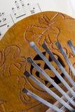 椰子Kalimba拇指钢琴 免版税库存照片