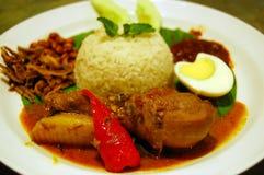 椰子lemak马来西亚nasi米辣传统 图库摄影