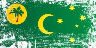 椰树Keeling海岛,澳大利亚的旗子 起皱纹的肮脏的斑点 皇族释放例证